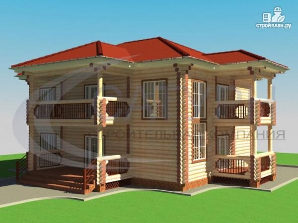 Фото: проект двухэтажный деревянный дом с балконом