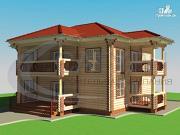 Фото: двухэтажный деревянный дом с балконом