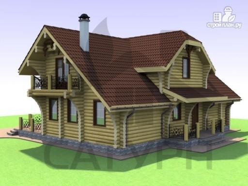 Фото 4: проект дом из дерева с двухсветной гостиной, сауной и террасой