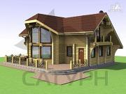 Проект дом из дерева с двухсветной гостиной, сауной и террасой