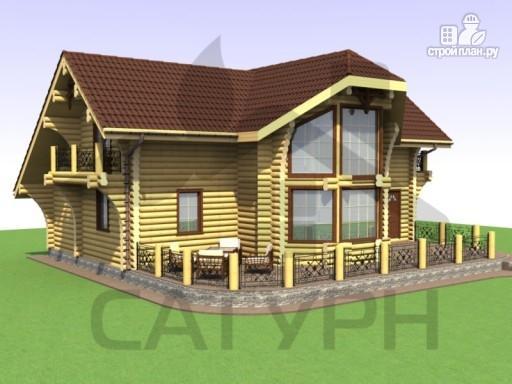 Фото 6: проект дом из дерева с двухсветной гостиной, сауной и террасой