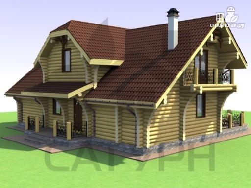 Фото 5: проект дом из дерева с двухсветной гостиной, сауной и террасой