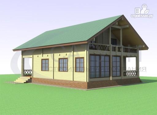 Фото 4: проект дом из дерева с террасой и верандой