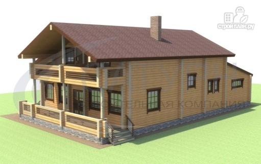 Фото 4: проект деревянный дом с гаражом, террасой и балконом