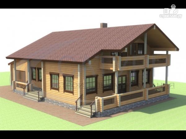 Фото: проект деревянный дом с гаражом, террасой и балконом