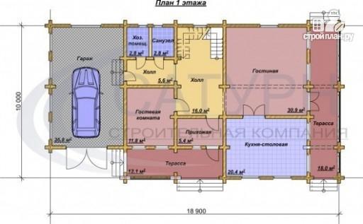 Фото 2: проект деревянный дом с гаражом, террасой и балконом