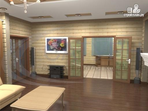 Фото 5: проект деревянный дом с гаражом, террасой и балконом
