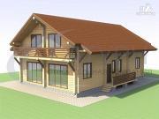 Проект просторный деревянный дом с мансардой