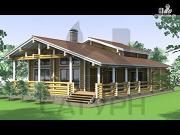 Фото: деревянный дом с угловой террасой и навесом для машин