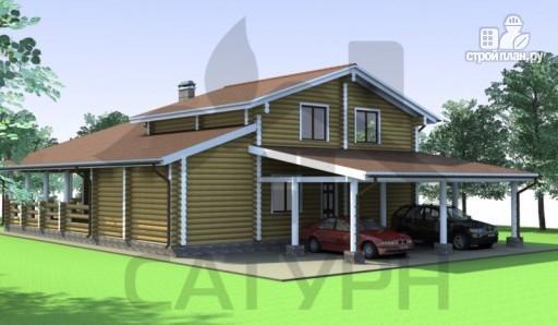 Фото 4: проект деревянный дом с угловой террасой и навесом для машин