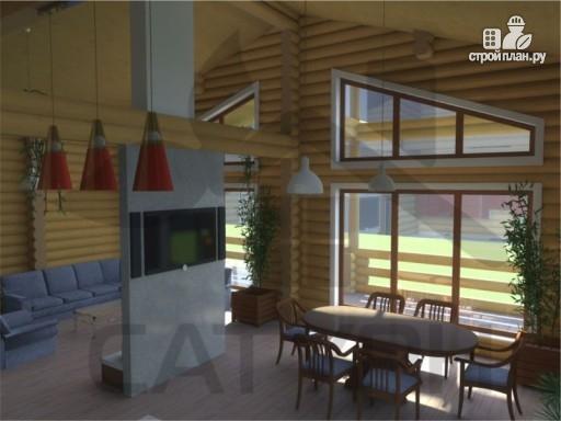 Фото 9: проект деревянный дом с угловой террасой и навесом для машин