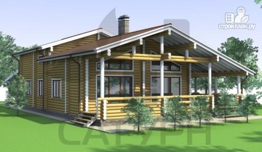 Фото 6: проект деревянный дом с угловой террасой и навесом для машин