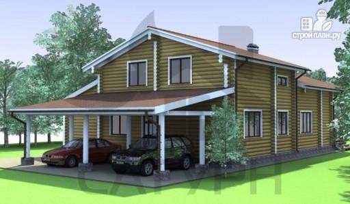 Фото 7: проект деревянный дом с угловой террасой и навесом для машин
