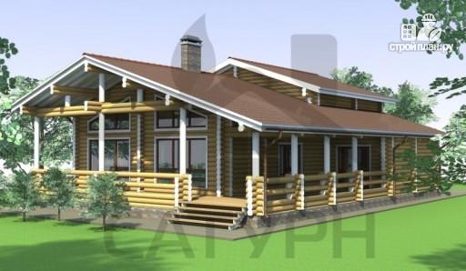 Фото 5: проект деревянный дом с угловой террасой и навесом для машин