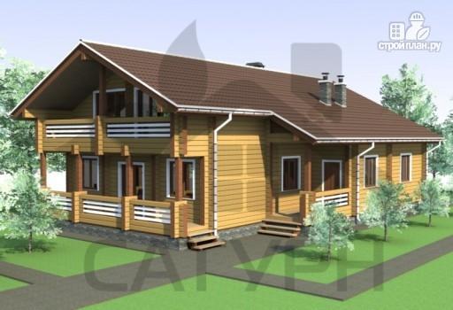 Фото 5: проект дом из дерева с камином, террасой и балконом