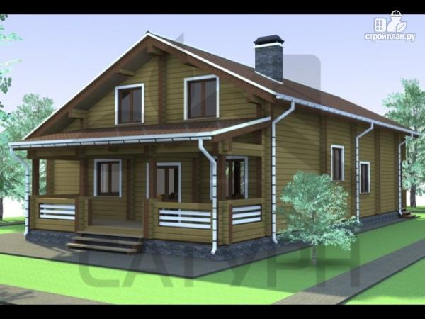 Фото: проект дом из дерева с камином, террасой и балконом