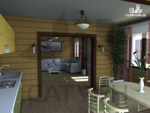 Фото 8: проект дом из дерева с камином, террасой и балконом