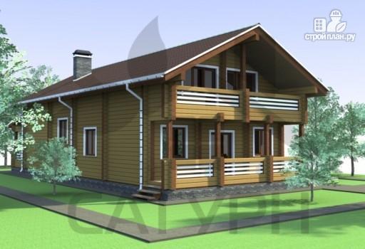 Фото 4: проект дом из дерева с камином, террасой и балконом