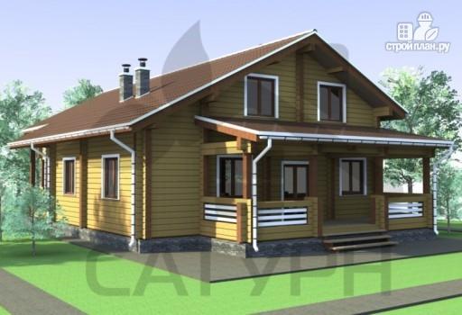 Фото 6: проект дом из дерева с камином, террасой и балконом