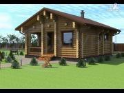 Проект деревянная одноэтажная баня 7х8 с террасой