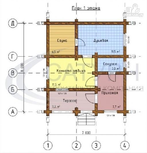 Фото 2: проект деревянная одноэтажная баня 7х8 с террасой