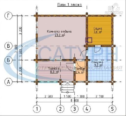 Фото 2: проект одноэтажная 7х8 деревянная баня с террасой