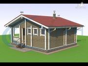 Проект одноэтажная 7х8 деревянная баня с террасой
