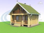 Проект баня из дерева с балконом и террасой