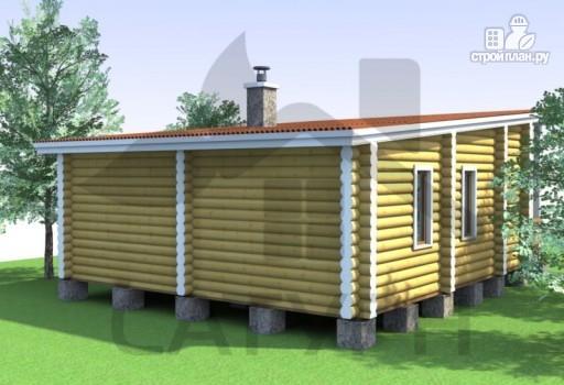 Фото 5: проект современная одноэтажная деревянная баня с террасой