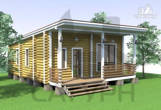 Фото 3: проект современная одноэтажная деревянная баня с террасой