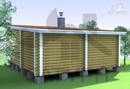 Фото 6: проект современная одноэтажная деревянная баня с террасой