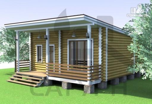 Фото 4: проект современная одноэтажная деревянная баня с террасой