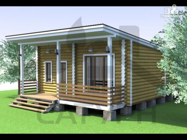 Фото: проект современная одноэтажная деревянная баня с террасой
