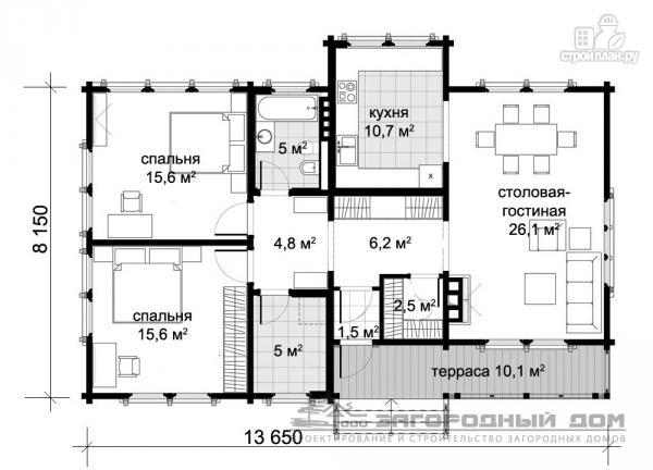 Фото 2: проект одноэтажный брусовой дом с камином и террасой