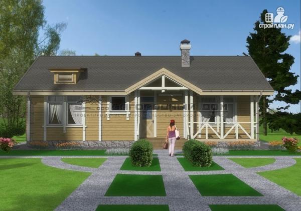 Фото 3: проект одноэтажный брусовой дом с камином и террасой