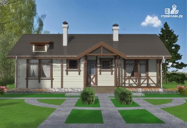 Фото 9: проект одноэтажный брусовой дом с камином и террасой