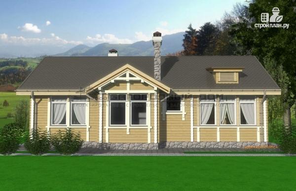 Фото 5: проект одноэтажный брусовой дом с камином и террасой