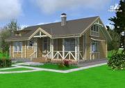 Фото: одноэтажный брусовой дом с камином и террасой