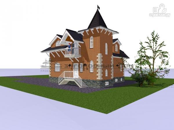 Фото 4: проект дом в старинном стиле из кирпича с балконом