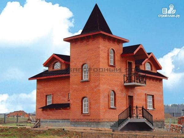 Фото: проект дом в старинном стиле из кирпича с балконом