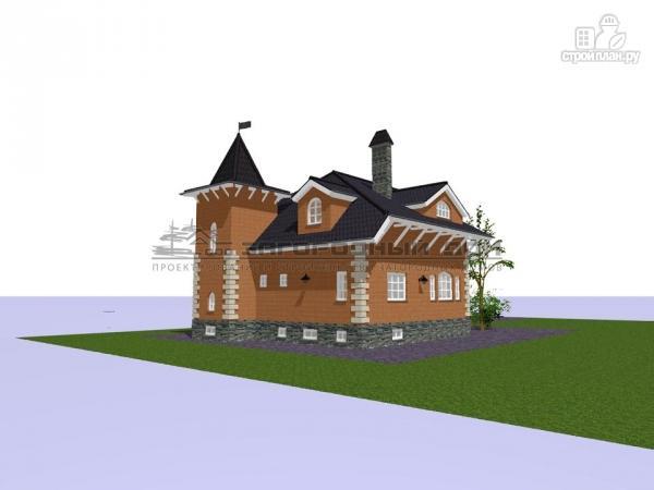 Фото 5: проект дом в старинном стиле из кирпича с балконом