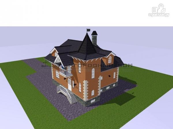 Фото 7: проект дом в старинном стиле из кирпича с балконом