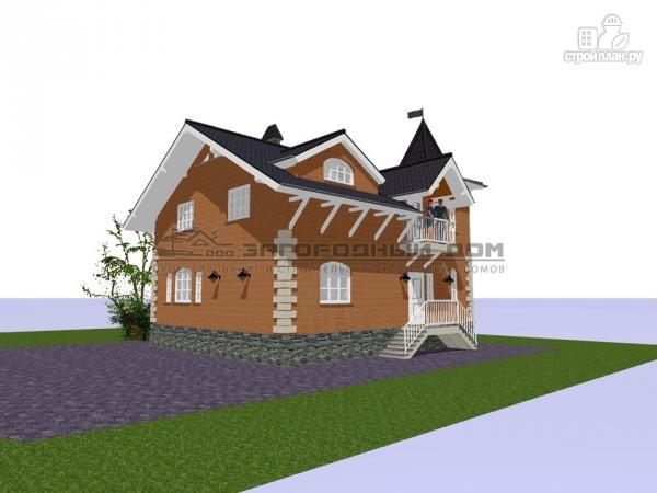 Фото 6: проект дом в старинном стиле из кирпича с балконом