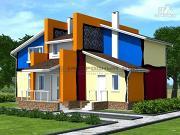 Проект современный дом из кирпича с сауной