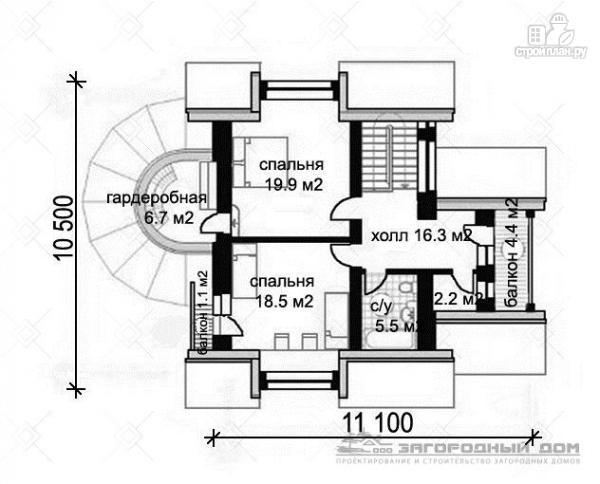 Фото 3: проект кирпичный дом с круглым эркером и балконом