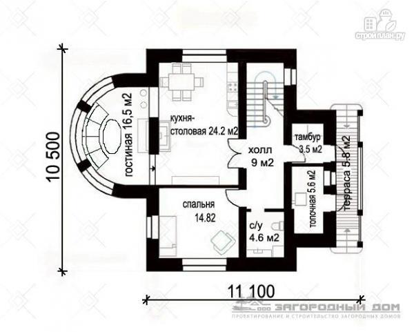 Фото 2: проект кирпичный дом с круглым эркером и балконом