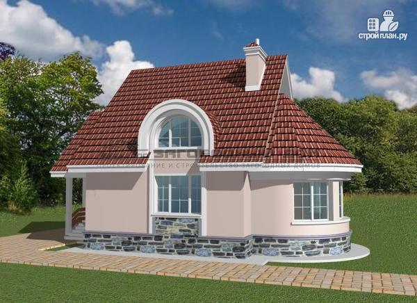 Фото 5: проект кирпичный дом с круглым эркером и балконом