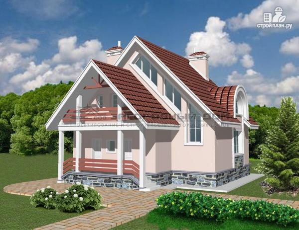 Фото 4: проект кирпичный дом с круглым эркером и балконом
