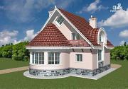 Проект кирпичный дом с круглым эркером и балконом