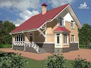 Проект кирпичный дом с верандой и эркером в гостиной